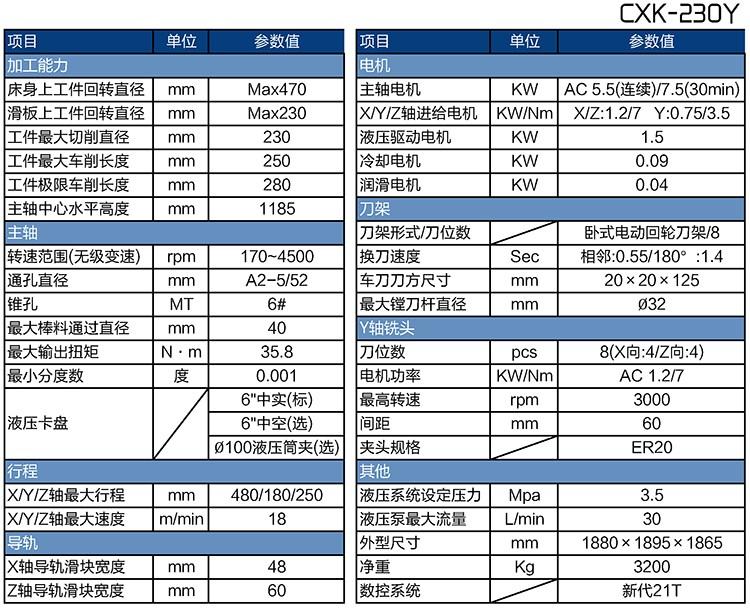 数控车铣一体机CXK-230Y参数表